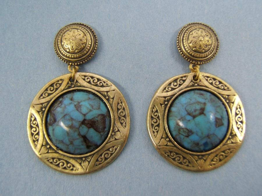 زفاف - Gift Idea Western Jewelry Statement Gold Earrings Stud Dangle Earring Handmade Accessories Bohemian Turquoise or Black Cabochon #80443