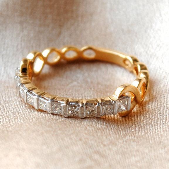Mariage - Princess Diamond Wedding Band. 14K Yellow Gold Vine Band. Rope Engagement Wedding Band. Stackable Half Eternity Bridal Ring. Bridal Jewerly