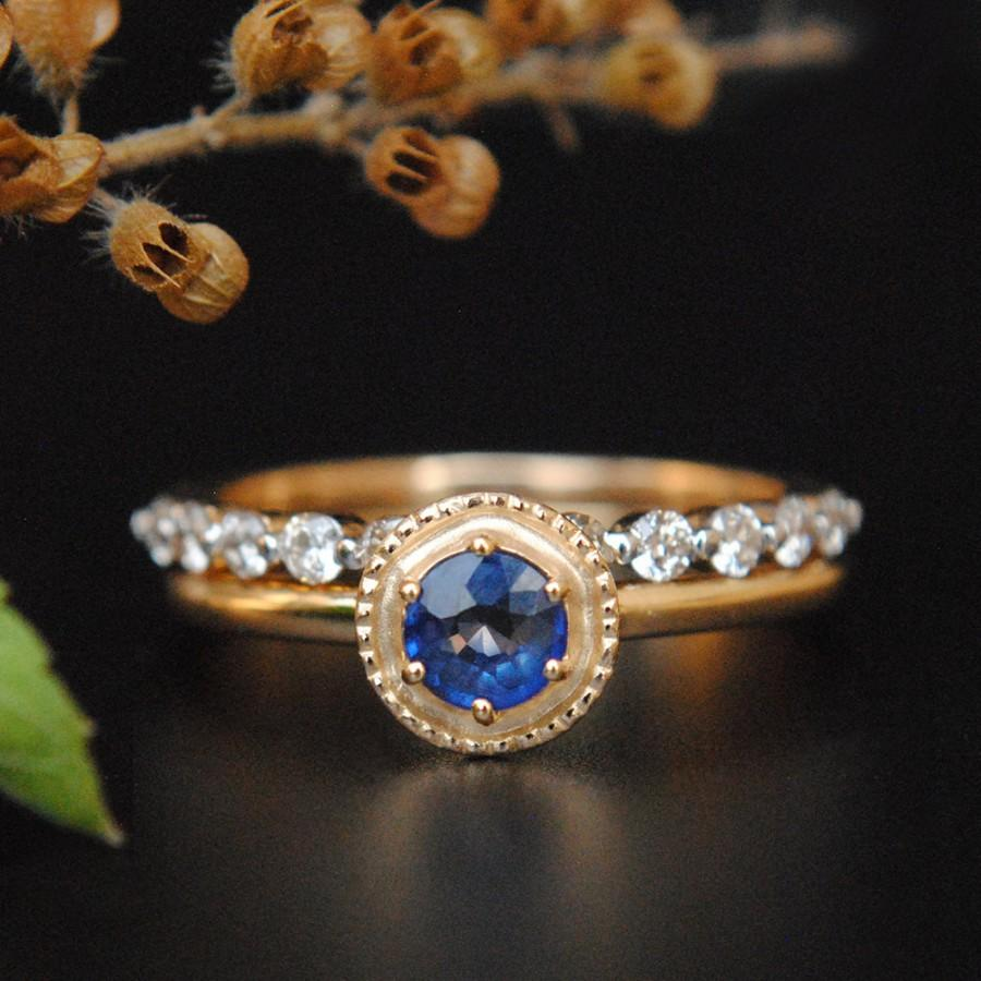 Hochzeit - Natural Diamond Sapphire Wedding Ring Set, 14K Gold Sapphire Engagement Ring. Prong Diamond Stack Band, Birthstone Heirloom Gift, Bridal Set