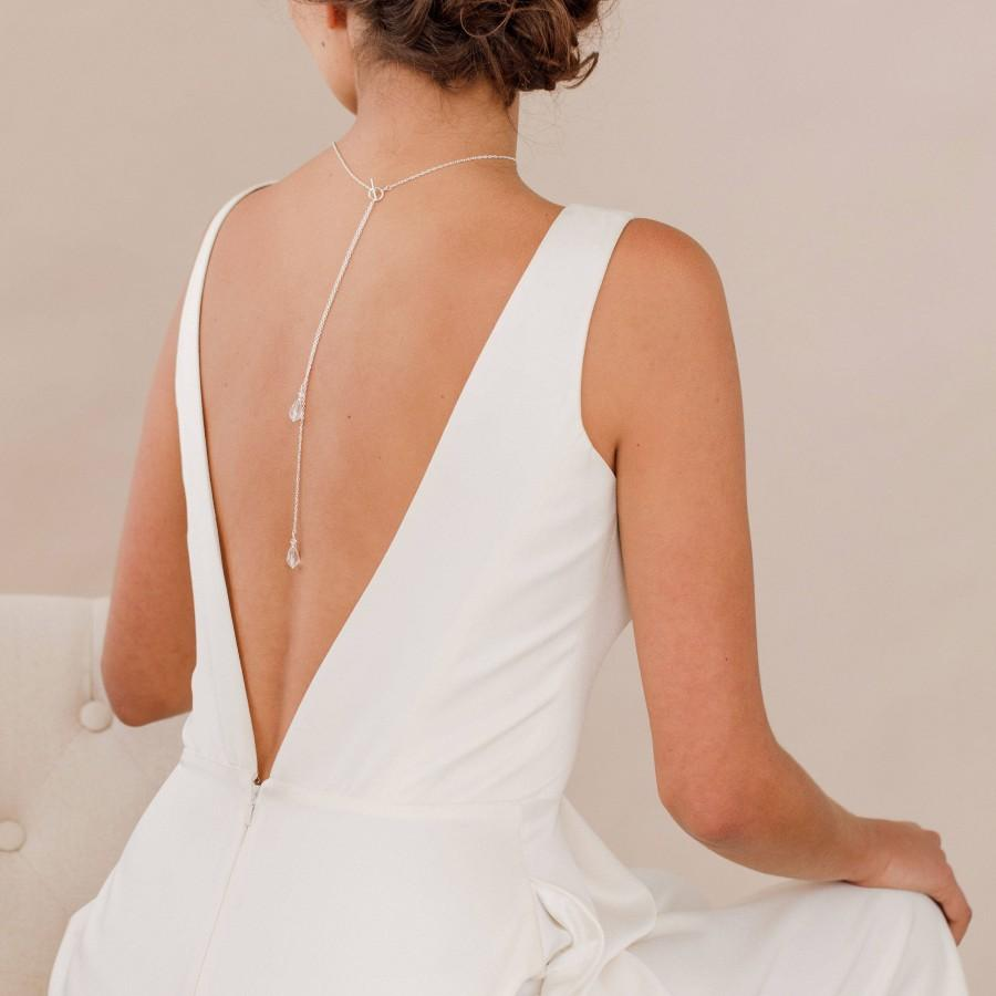 Hochzeit - Crystal back drop necklace • Crystal back necklace • Crystal bridal back drop necklace • Crystal lariat • Silver necklace