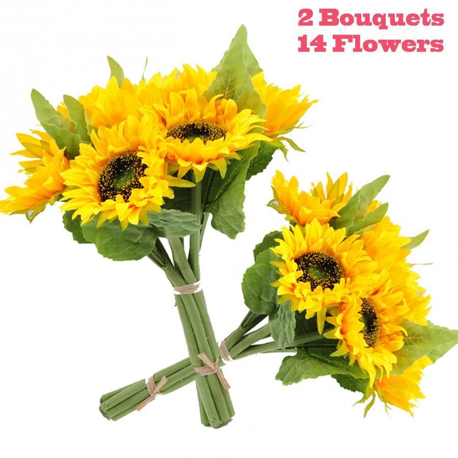 زفاف - 2pcs Artificial Sunflower Bouquets Real-Touch Silk Flowers for Wedding Bridal Bouquet Bridesmaid Home Décor,7pcs flowers on each bouquet