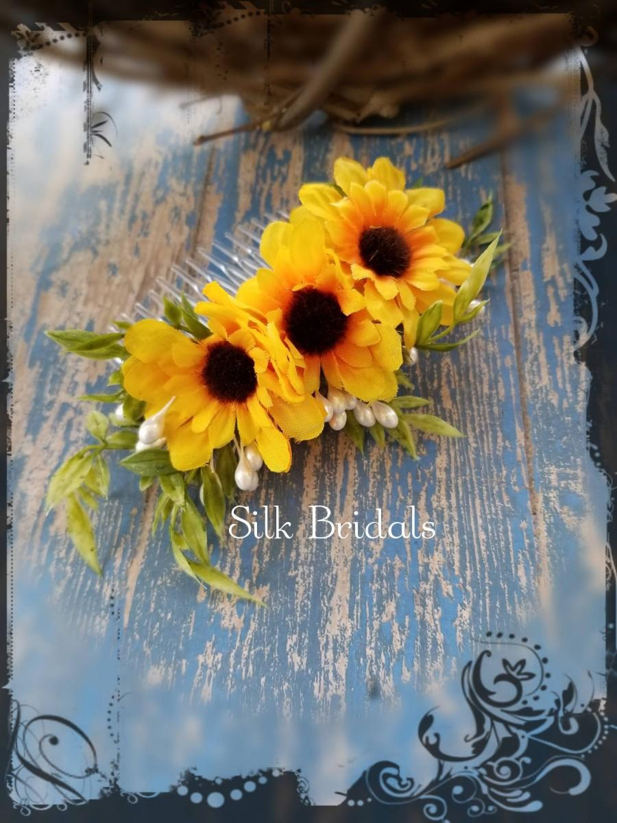 Hochzeit - Silk mini sunflower hair comb bridal silk wedding flowers bridesmaid flower girl country rustic wedding accessory