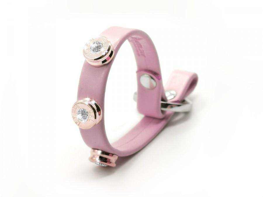 زفاف - LEATHER BULLET BRACELET basic pink color effect, three stainless steel bullets rose gold finish with brilliant cut diamonds.