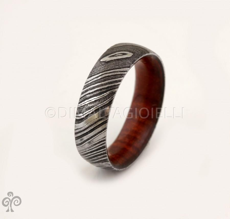 Hochzeit - wood ring DAMASCUS steel ring wood wedding band man ring COCOBOLO inside wood band
