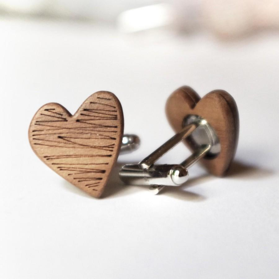 Wedding - Heart shaped cufflinks groom groomsmen gift wood cufflinks doodle design
