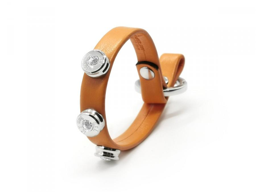 Свадьба - LEATHER BULLET BRACELET basic color orange skin effect, three stainless steel bullets silver finish with brilliant cut diamonds.