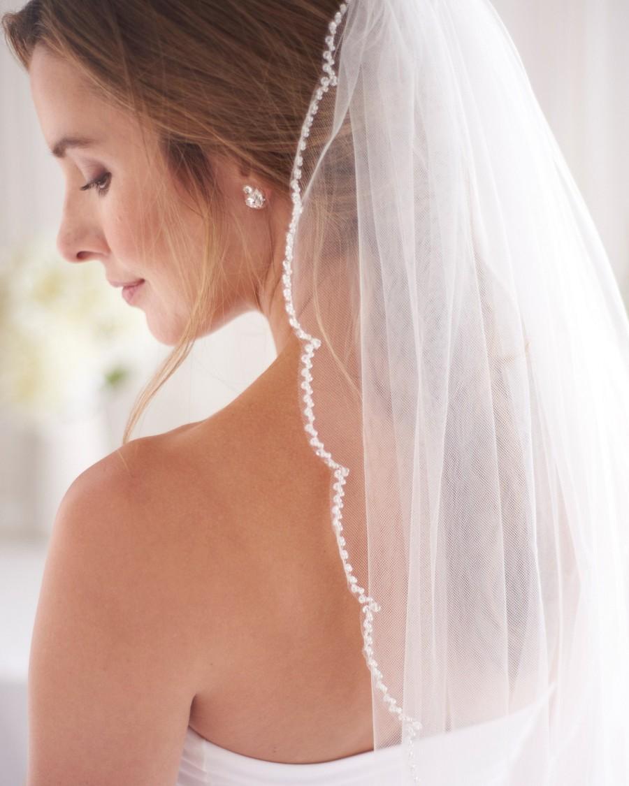 Mariage - Scallop Edge Beaded Veil, Beaded Wedding Veil, Scalloped Edge Veil, Scalloped Edge Beaded Wedding Veil, Beaded Bridal Veil, Ivory Veil~5096