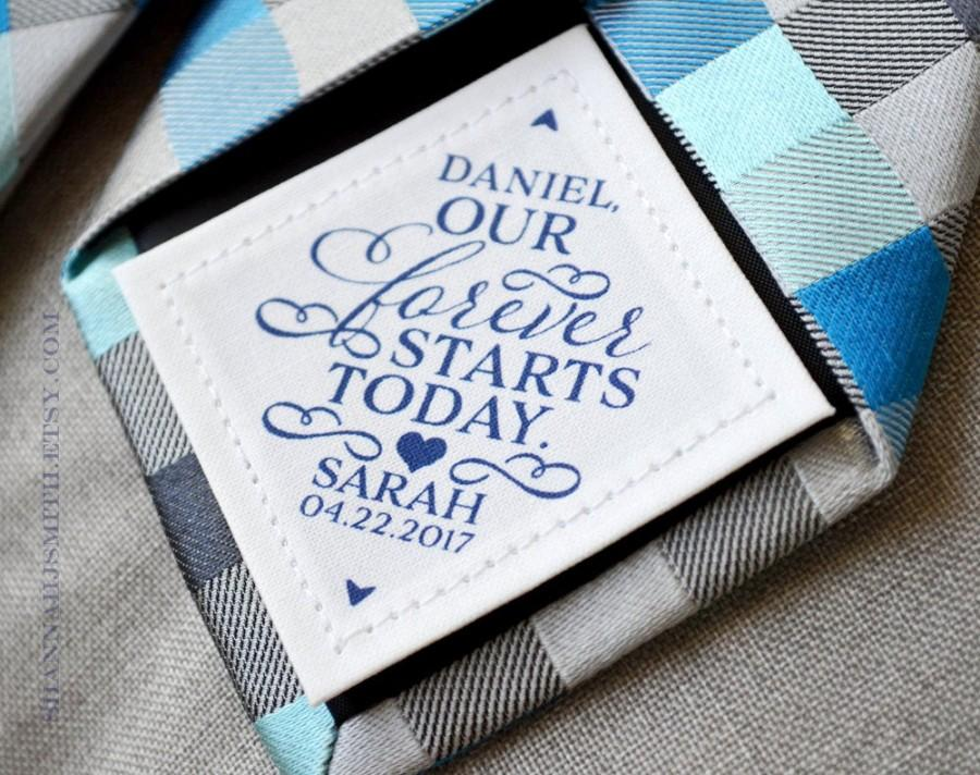 Свадьба - Groom Personalized Tie Patch, Wedding Day Gift, Our Forever Starts Today, Husband Gift, Suit Label, Custom Label