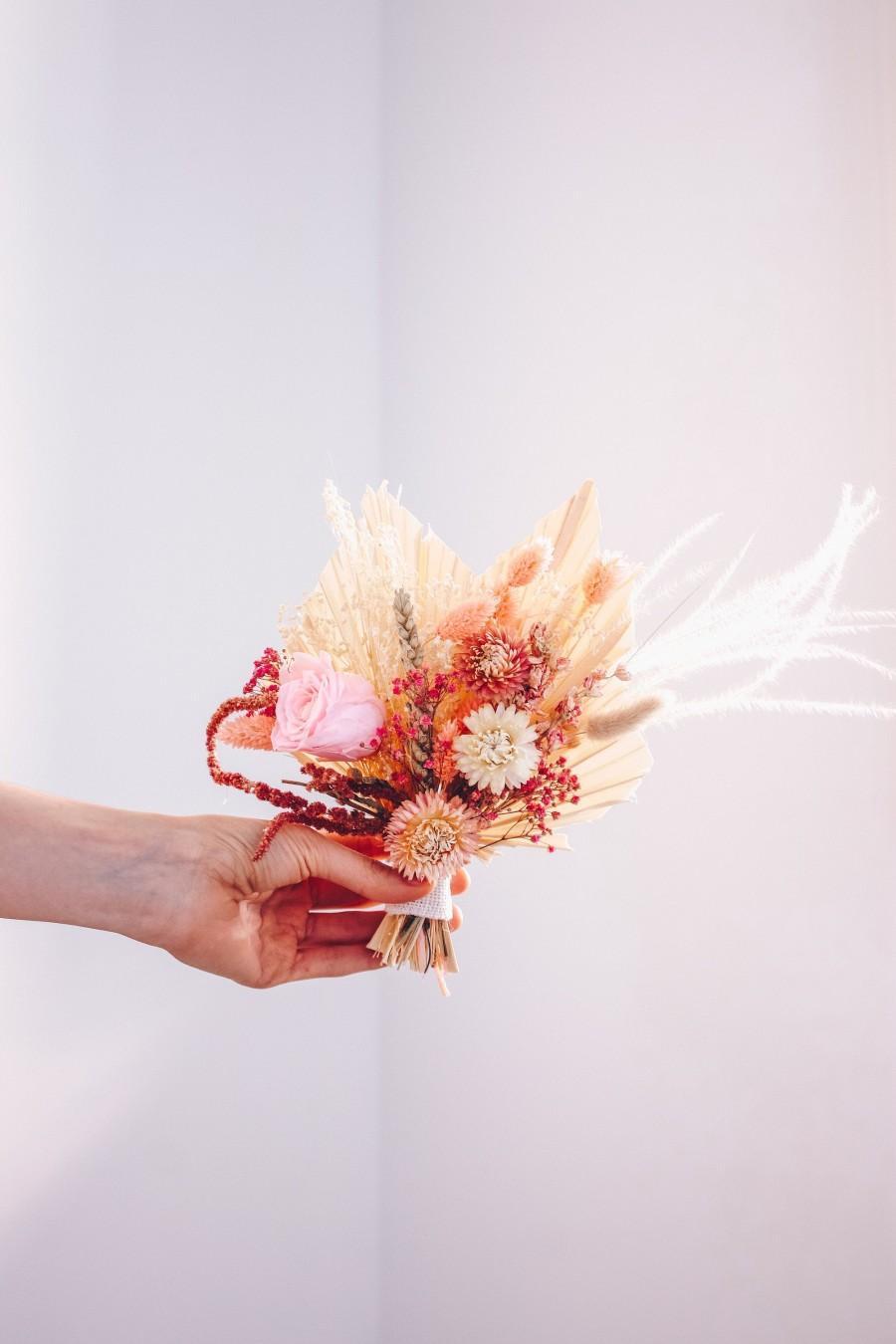 Hochzeit - Burgundy Pink Boho Palm Spear Bouquet / Dried Wildflower Bouquet / Preserved Rose Bouquet / Dancing Meadow Flowers