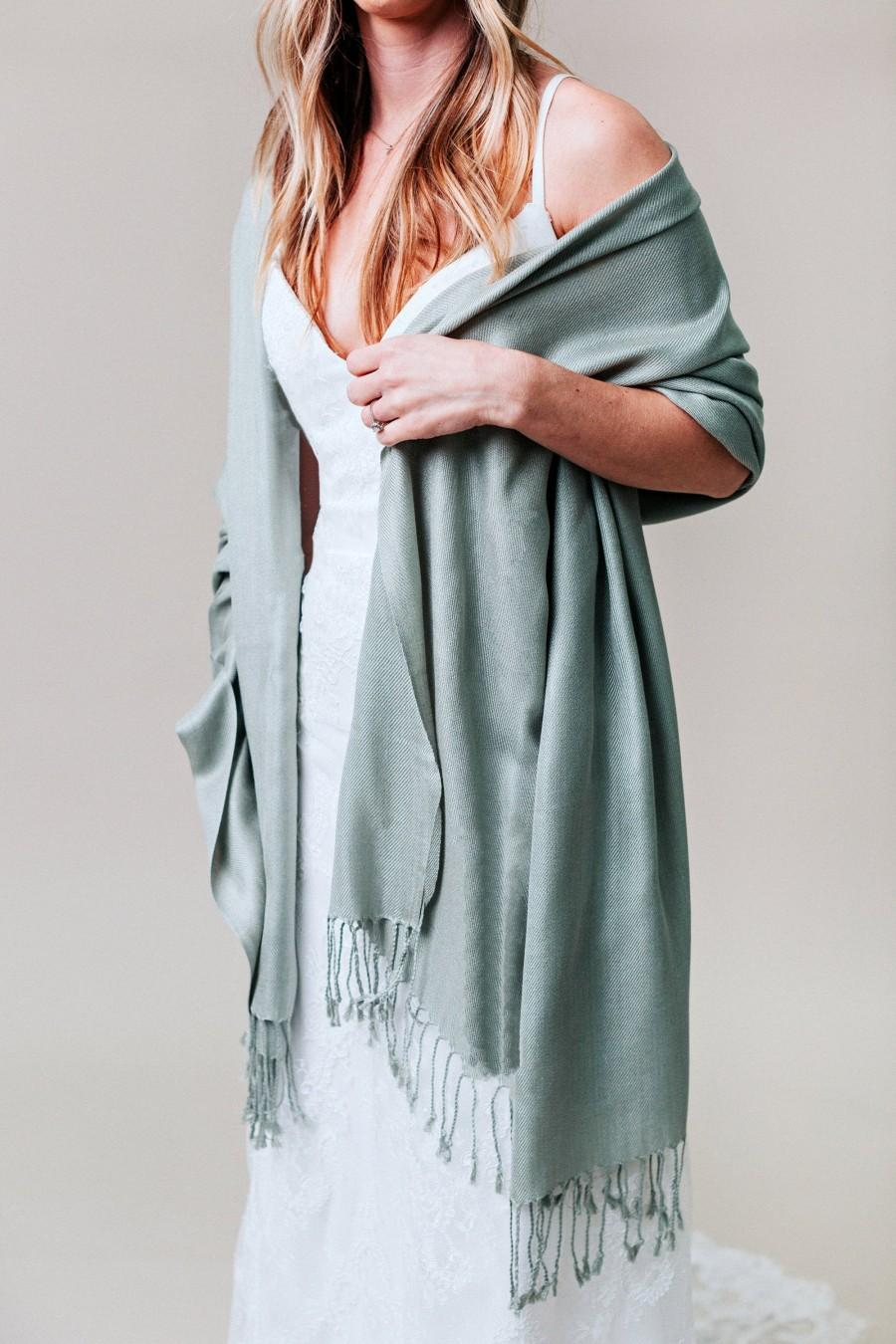 Wedding - Sage Green, Wedding Shawl, Bridesmaid Gift, Pashmina Shawl, Scarf