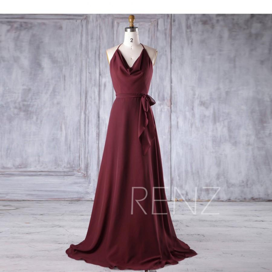 Свадьба - Bridesmaid Dress Maroon Chiffon Dress Wedding Dress Spaghetti Strap A-Line Prom Dress Halter Backless Maxi Dress V Neck Party Dress(H385)