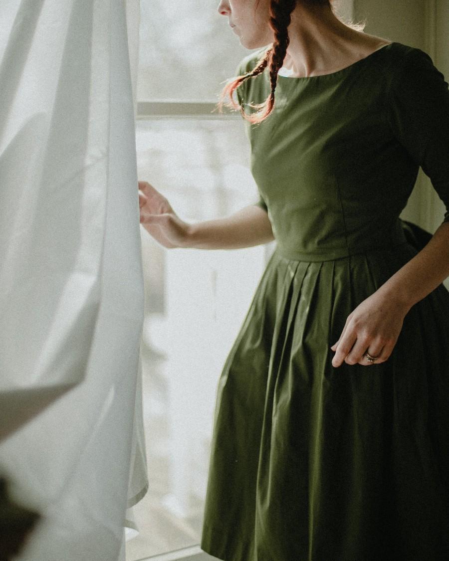 زفاف - Olive Green Dress, Modest Dress, Pleated Dress, Vintage Style Dress, Retro Dress, Belt Dress, 1950's Dress, Fit And Flare Midi Dress