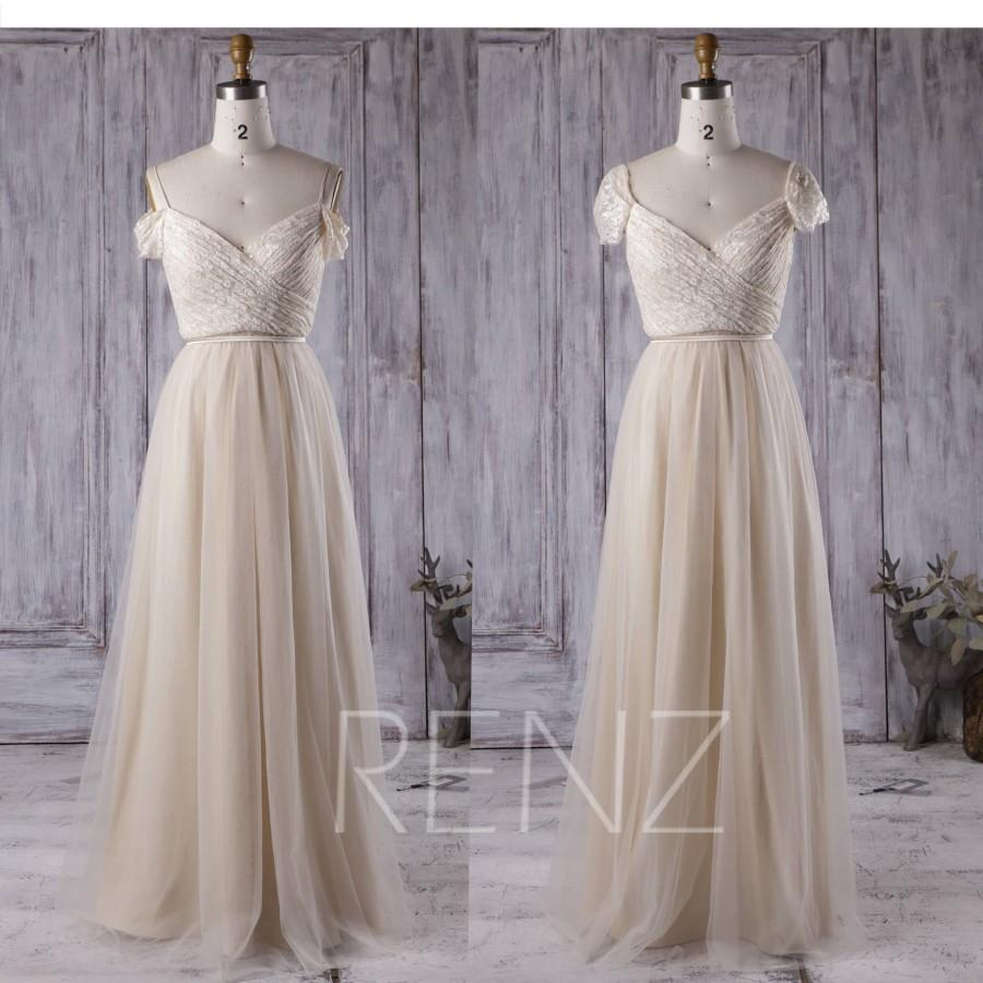 Wedding - Bridesmaid Dress Light Wheat Lace Dress Wedding Dress Ruched Sweetheart Maxi Dress Off Shoulder Party Dress A-Line Tulle Prom Dress(LS131)