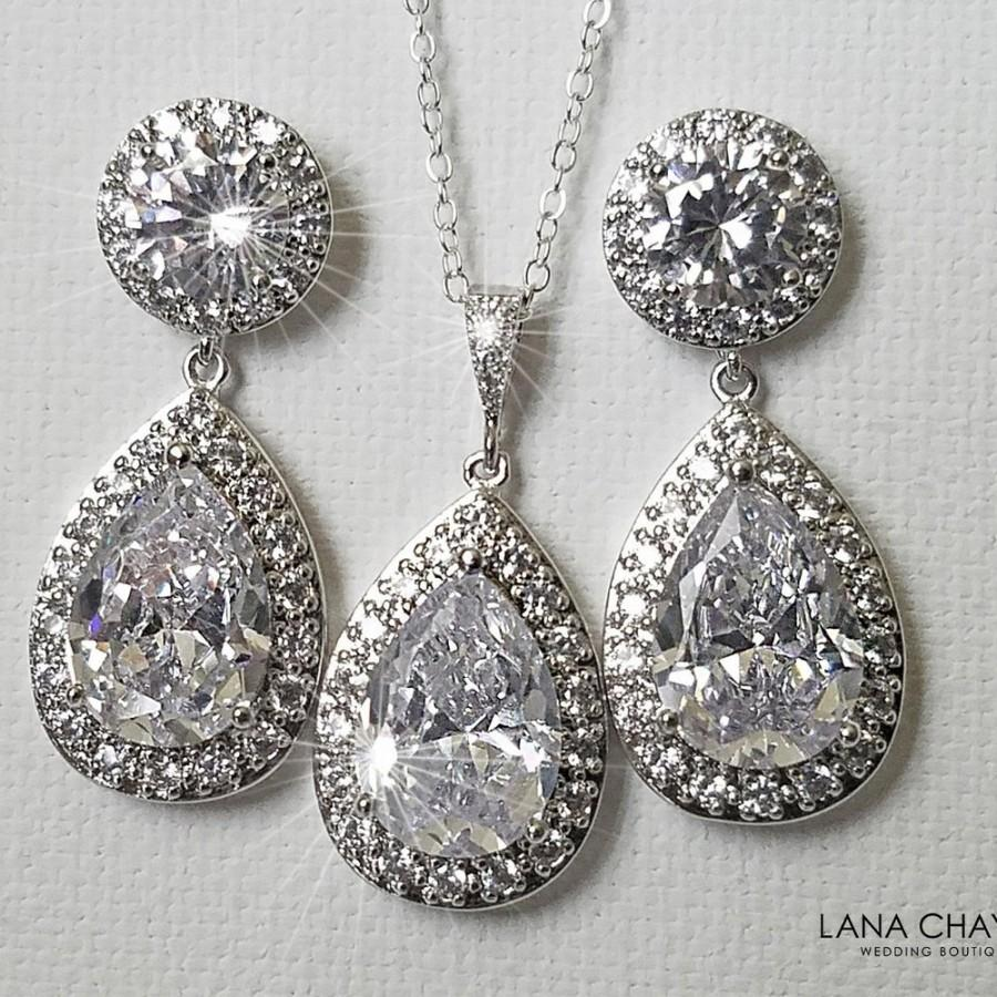 Свадьба - Bridal Crystal Jewelry Set, Wedding Cubic Zirconia Halo Set, Teardrop Earrings&Necklace Set, Bridal CZ Jewelry, Wedding Sparkly Crystal Set