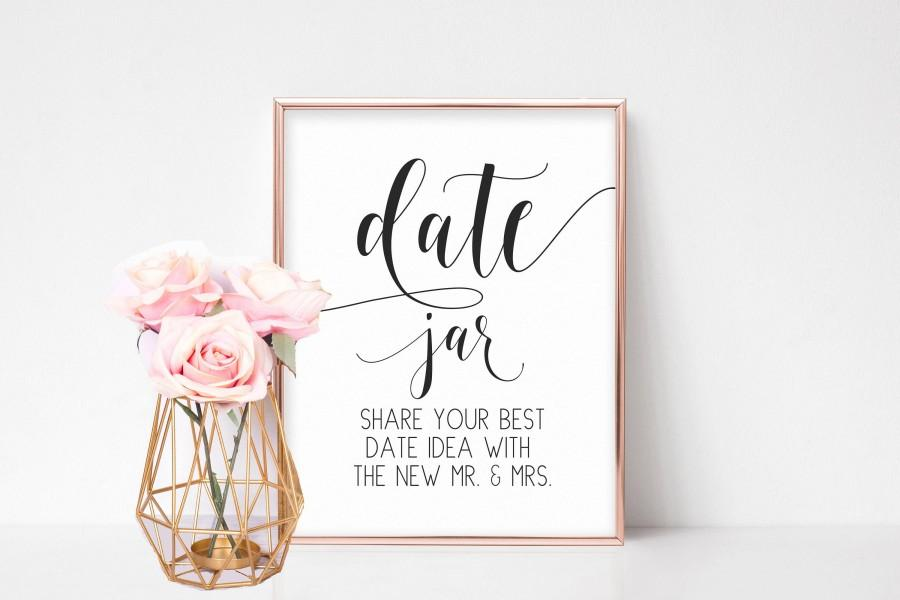 Mariage - Date Jar Sign, Bridal Shower Signs, Wedding Shower Decorations, Bridal Shower Games, Date Night Advice Sign, Wedding Games, Reception Signs