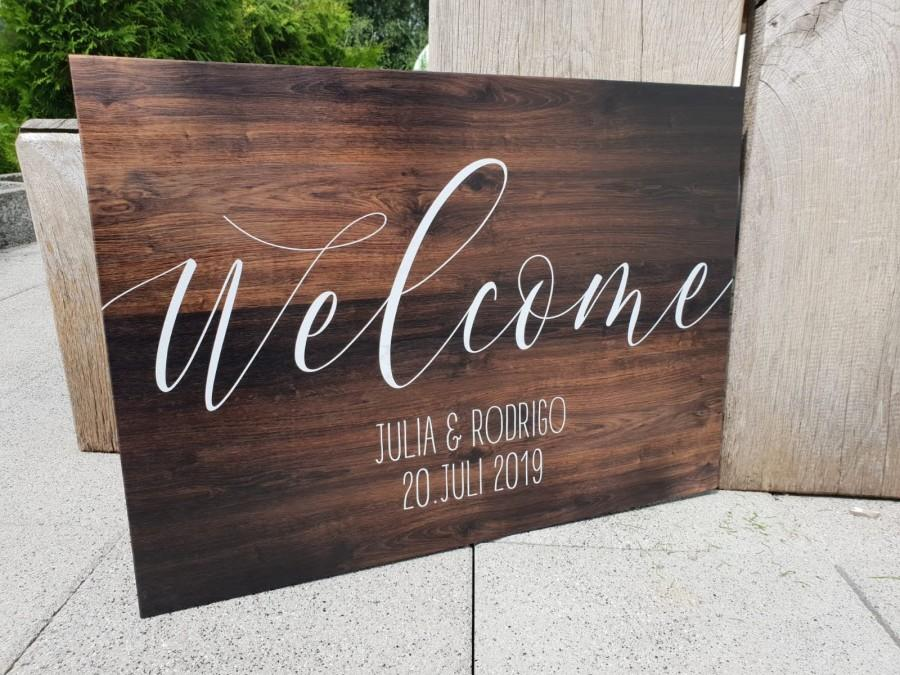 Mariage - Welcome Sign, Wedding, Wedding, Welcome, Personalized, Custom, Wood Print, Wood, Welcome Sign, Welcome Sign