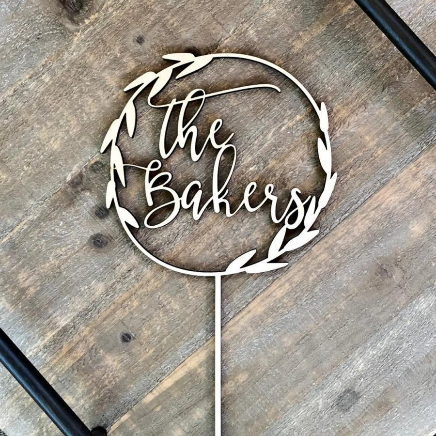 Свадьба - Laurel Wreath Cake Topper, Married Cake Topper, Rustic Cake Topper, Wedding Cake Topper, Rustic Wedding Decor, Last Name Cake Topper