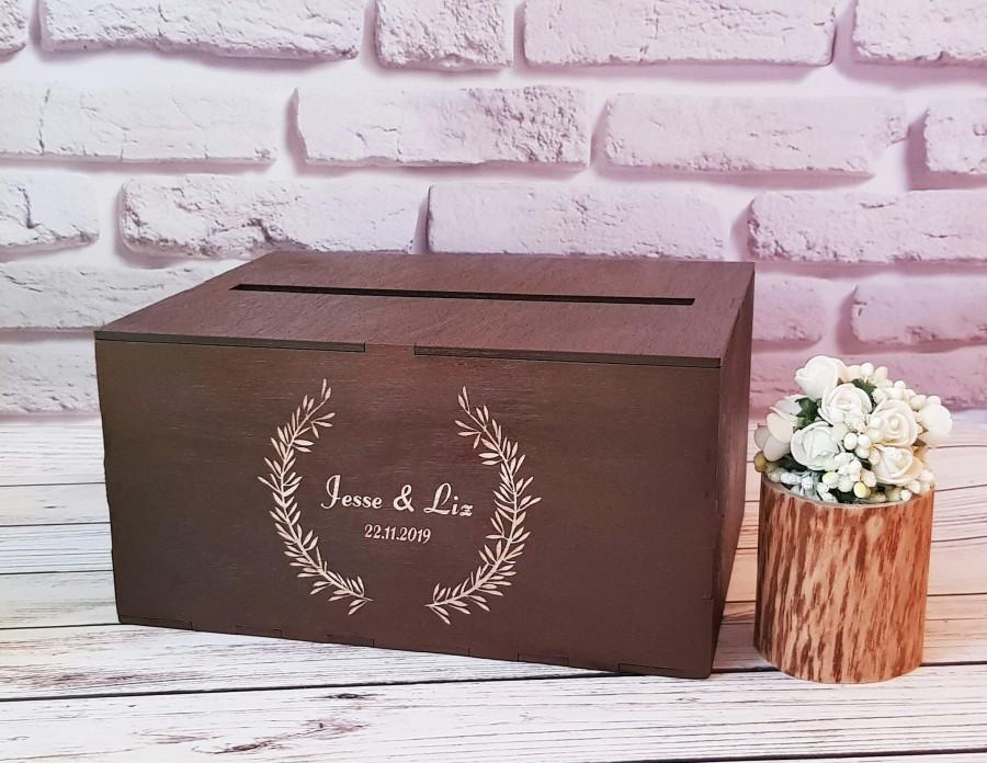 Mariage - Wedding Card Box With Slot Wooden Card Box For Wedding Baptism Box Anniversary Box Card Holder Envelope Box Wooden Money Holder Gift Box