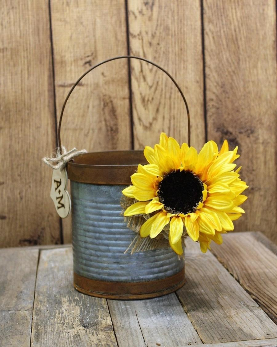 Mariage - Flower Girl Basket, Wedding-Bride-Groom-Sunflowers-Metal-Rustic-Galvanized-Unique-Farm