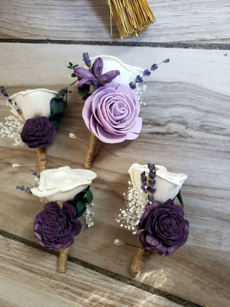 Wedding - plum and lavender groom boutonniere, plum groomsmen boutonnieres, sola wood flowers