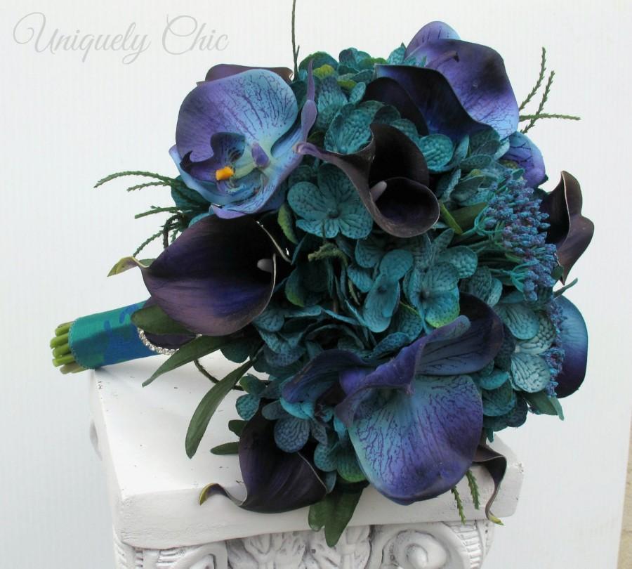 Mariage - Wedding bouquet - Beach bouquet, Teal purple and blue Tropical bouquet, Silk bouquet, Brides bouquet, Tropical wedding flowers