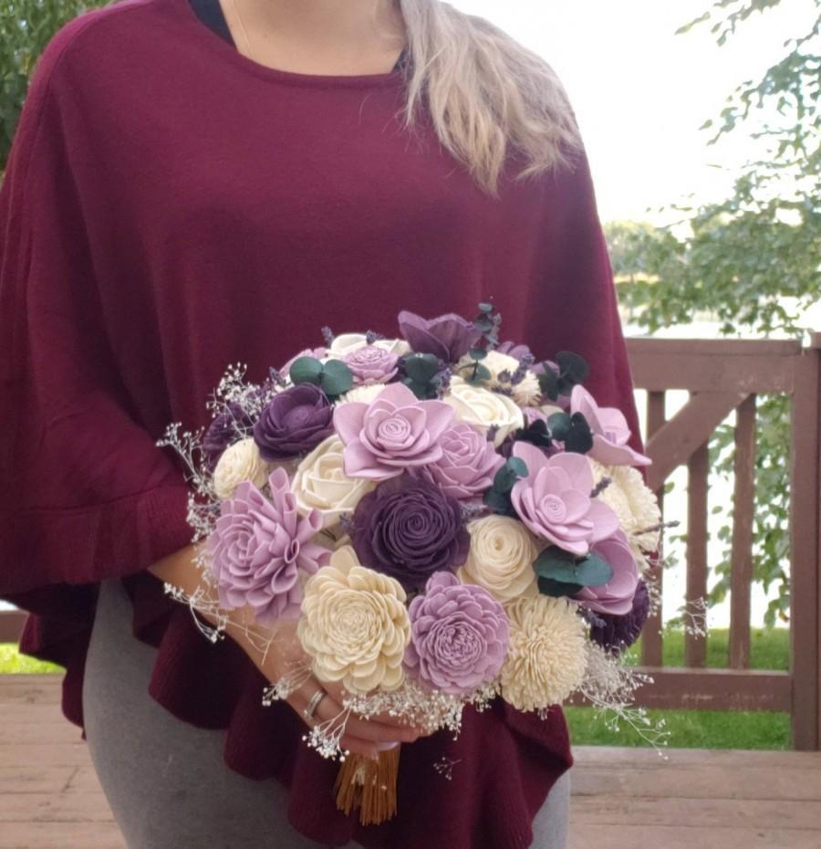 Свадьба - lilac and purple bouquet, bridal bouquet, sola wood flowers, lavender and plum,