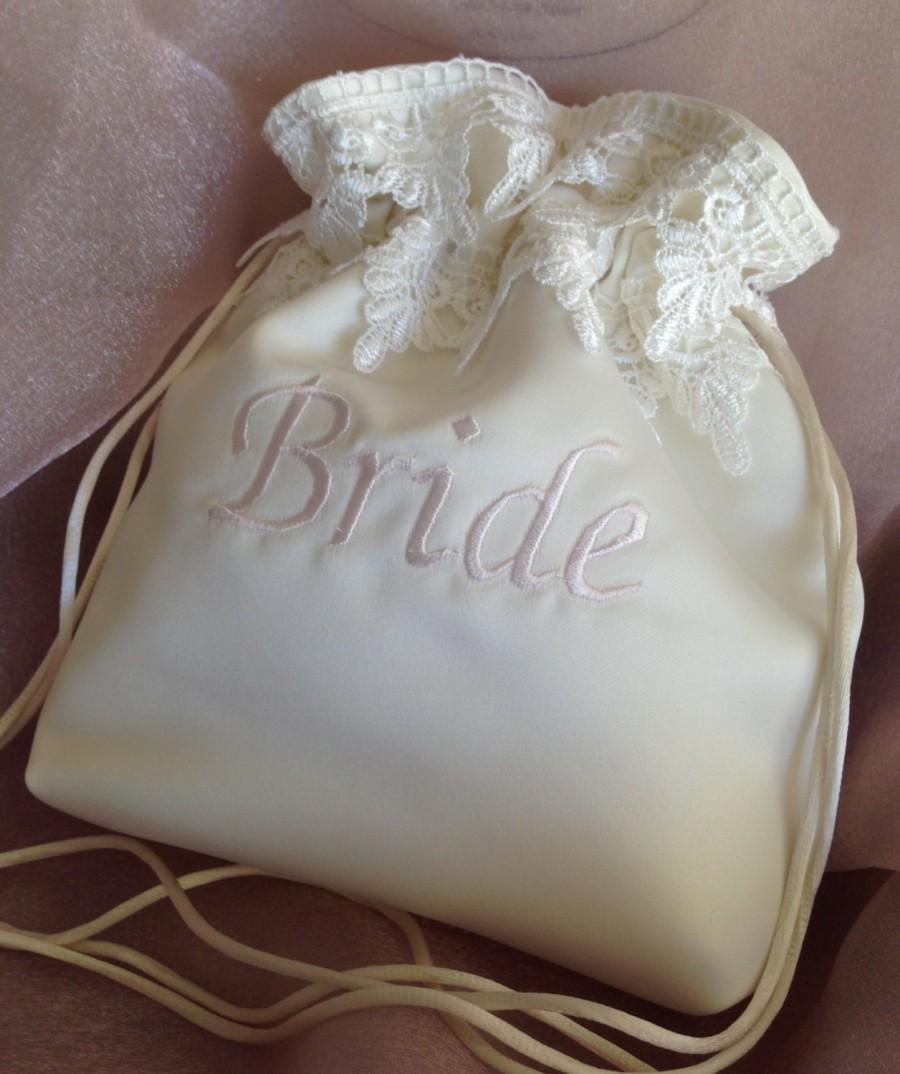 "زفاف - WEDDING CARD BRIDAL Bag, Ivory Embroidered Drawstring Bag w/Light Ivory Double lace, Money Bag, Keepsake/Heirloom Bag, 12"" Tall x 11"" Wide."