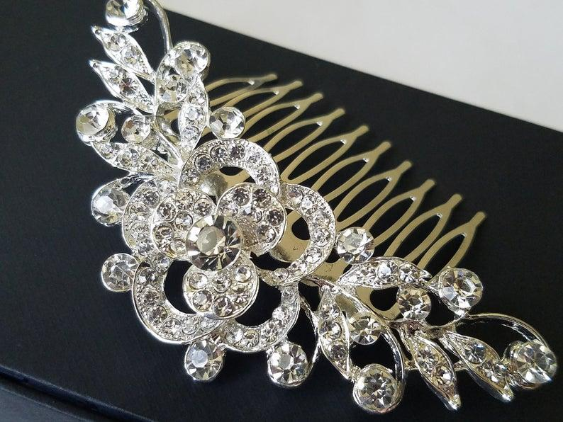 Свадьба - Bridal Crystal Hair Comb, Wedding Crystal Hair Piece, Bridal Rhinestone Headpiece, Bridal Hair Jewelry, Crystal Silver Floral Bridal Comb
