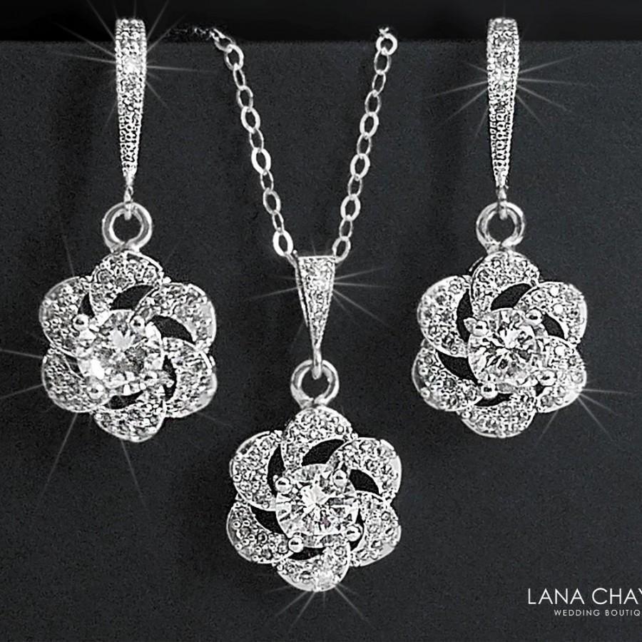Hochzeit - Crystal Bridal Jewelry Set,Cubic Zirconia Earrings&Necklace Set, Camellia Wedding Jewelry Set, Floral Crystal Set, Bridal Jewelry, Prom Set