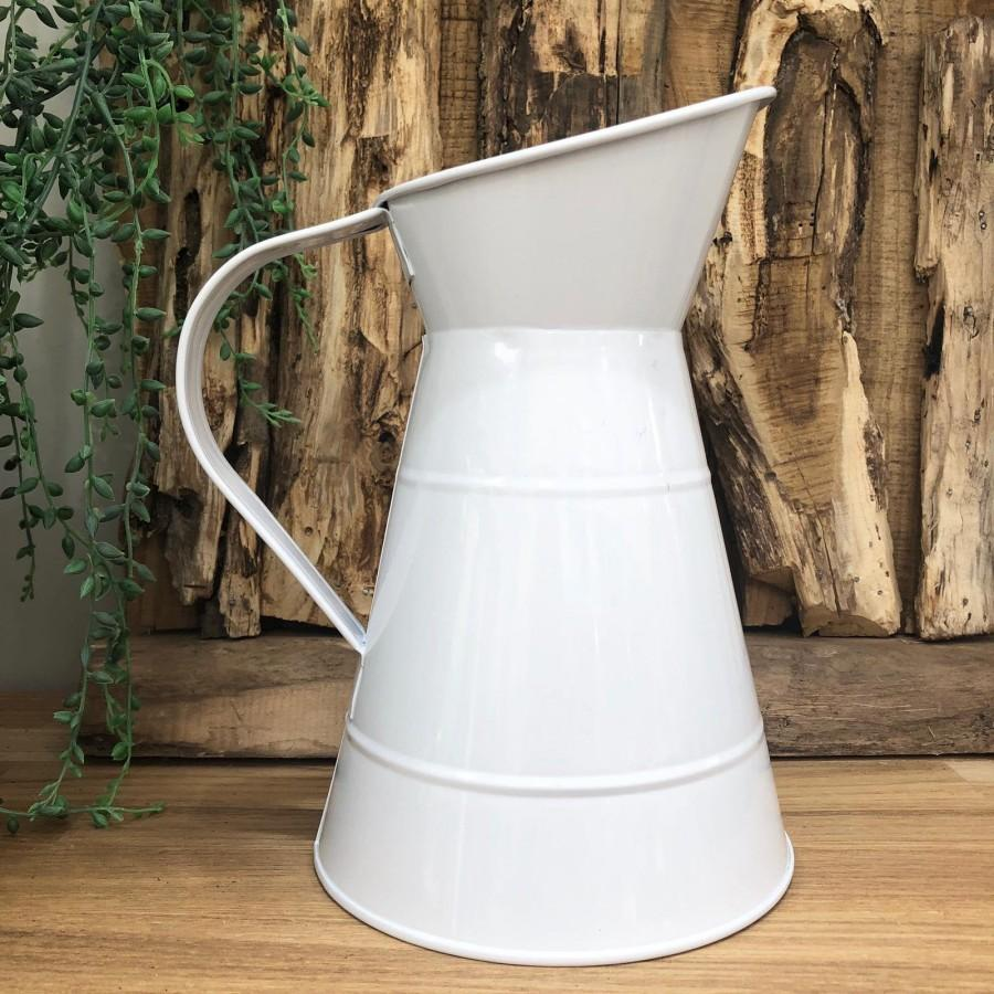 Wedding - Decorative White Metal Jug Vintage Garden Planter Pot Vase Pitcher Decor Wedding Table Centrepiece Venue Decoration