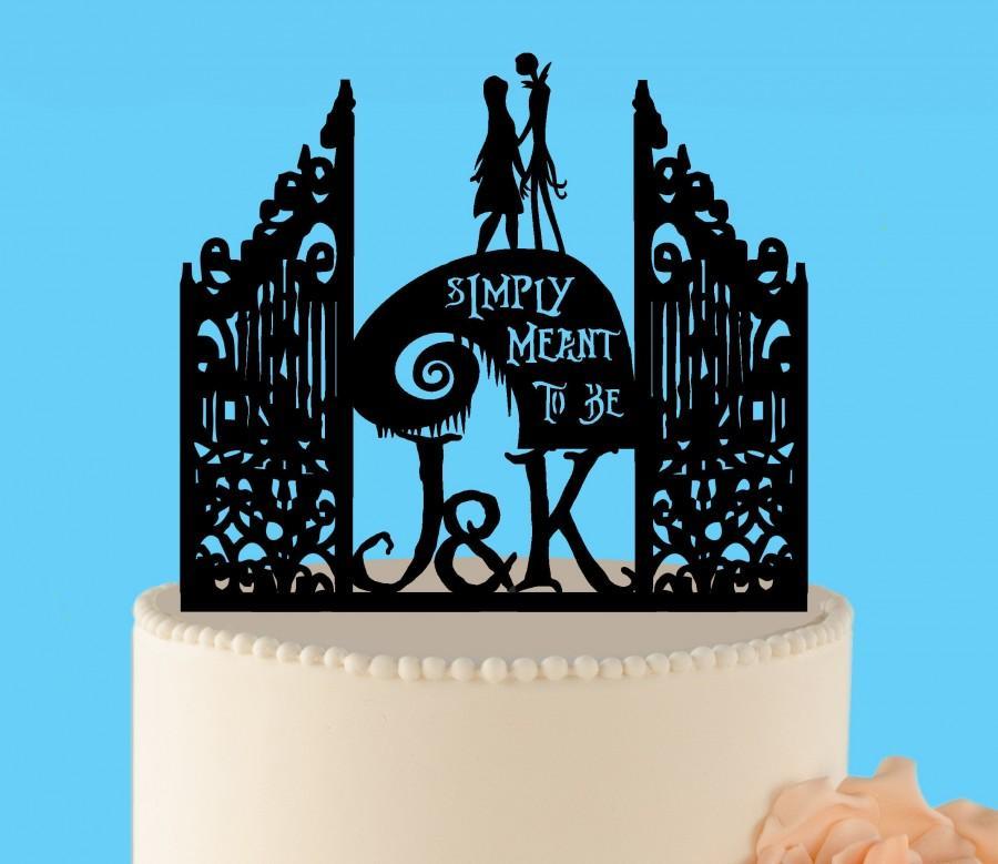 زفاف - Simply meant to be wedding cake topper, Jack and Sally, Nightmare before Christmas, Jack Skellington Cake Topper, Halloween Wedding Topper