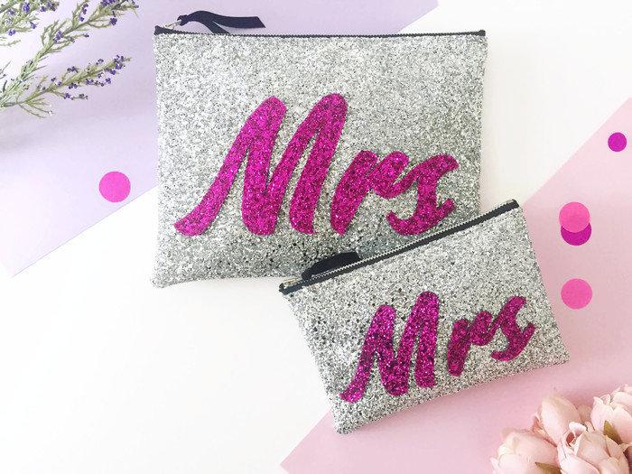 Wedding - Mrs Bag, Wedding Day Clutch, Personalised Bridal Bag, Bride Bag, Bridal Shower Gift, Bridal Accessories, Clutch for Bride, Mrs Accessories
