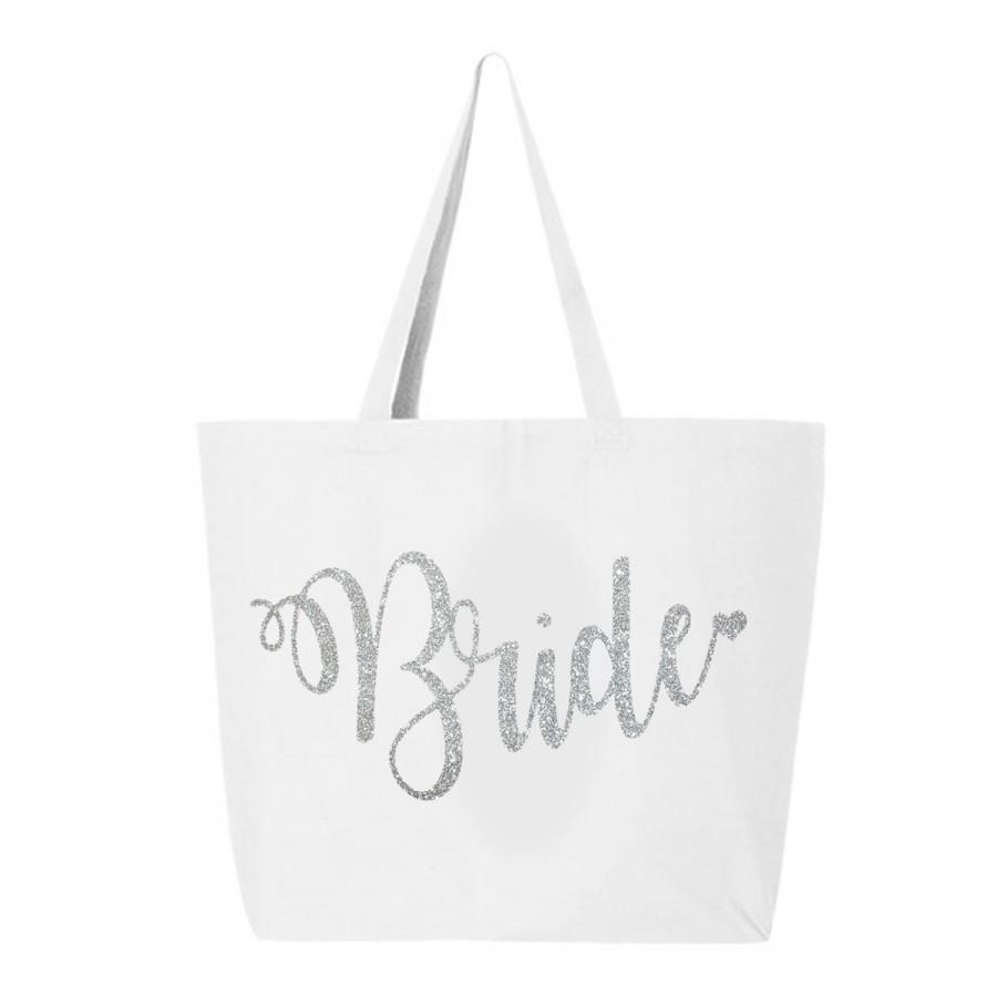 Свадьба - Bridal Tote Bag, Silver Glitter Wedding Tote bag, Bride Tote Bag, Jumbo Bride carry all, White & Silver glitter bride tote, bride gift
