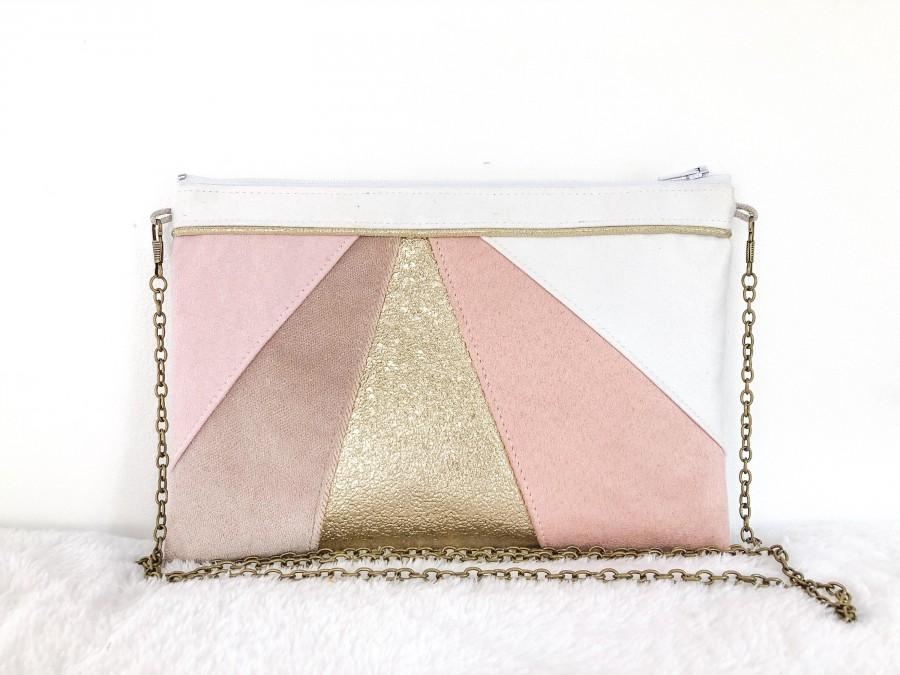 Свадьба - Pink clutch bag white powder gold, clutch evening bag light pink wedding, pastel pink bridesmaid Thealouise