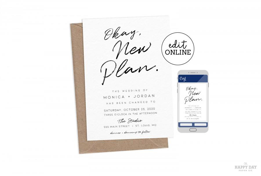 Mariage - Editable New Plan, Change the Date Wedding or Party Postponed Announcement • Printable or Save for Email, Text, or Social Media