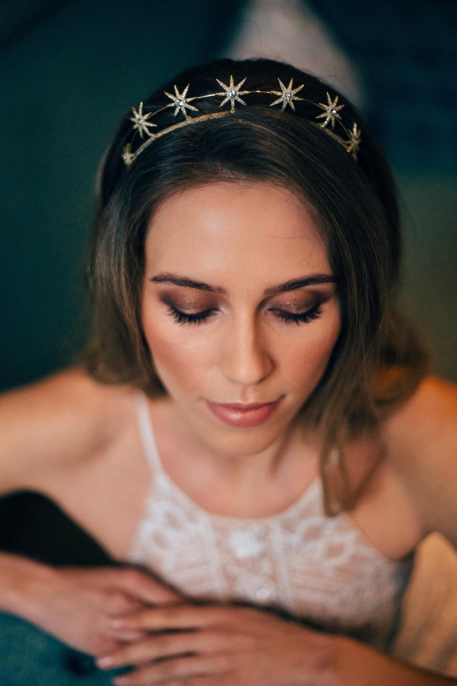 Mariage - Gold Star Crown/ Silver Star crown - Gold Wedding Tiara - Bridal  Hair Accessory -  Bridal Hair Accessory -Modern Bridal Crown Headpiece