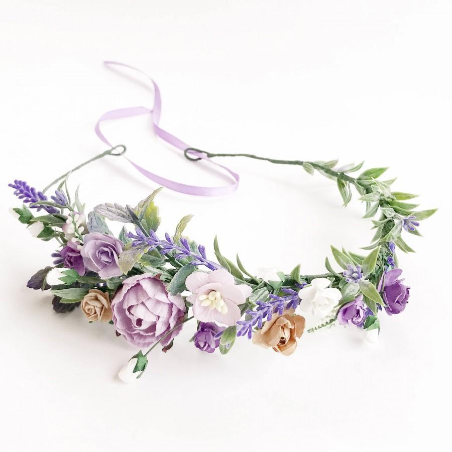 Wedding - Flower crown, Bridal flower crown, Bridal provence floral crown lavender flower crown, wedding crown, bridal floral crown lilac flower crown