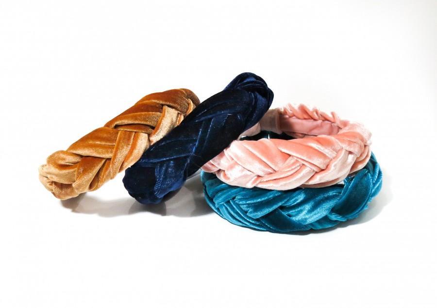 Wedding - Braided Velvet Headband *Smaller Version*  - Mustard / Pink / Blue / Emerald / Adult / Blush / Burnt Orange - Thick  / Woman / Girl/ Baby