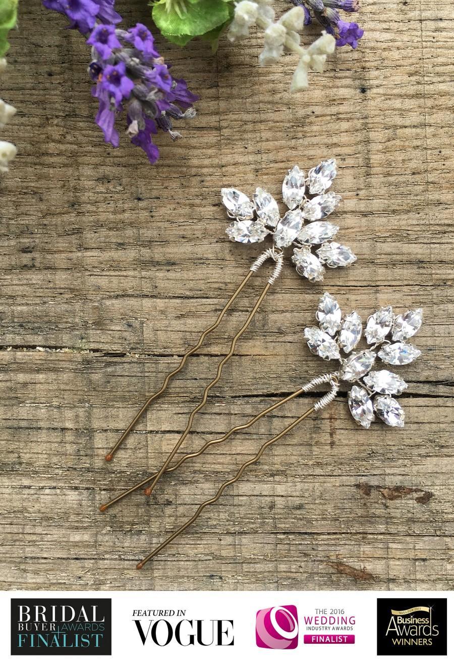 Mariage - Bridal Hair Accessory, Wedding Hair Accessory, Swarovski Crystal Hair Pin, Silver Gold Diamante Hair Vine (2 x Clara Medium Hair Pins)