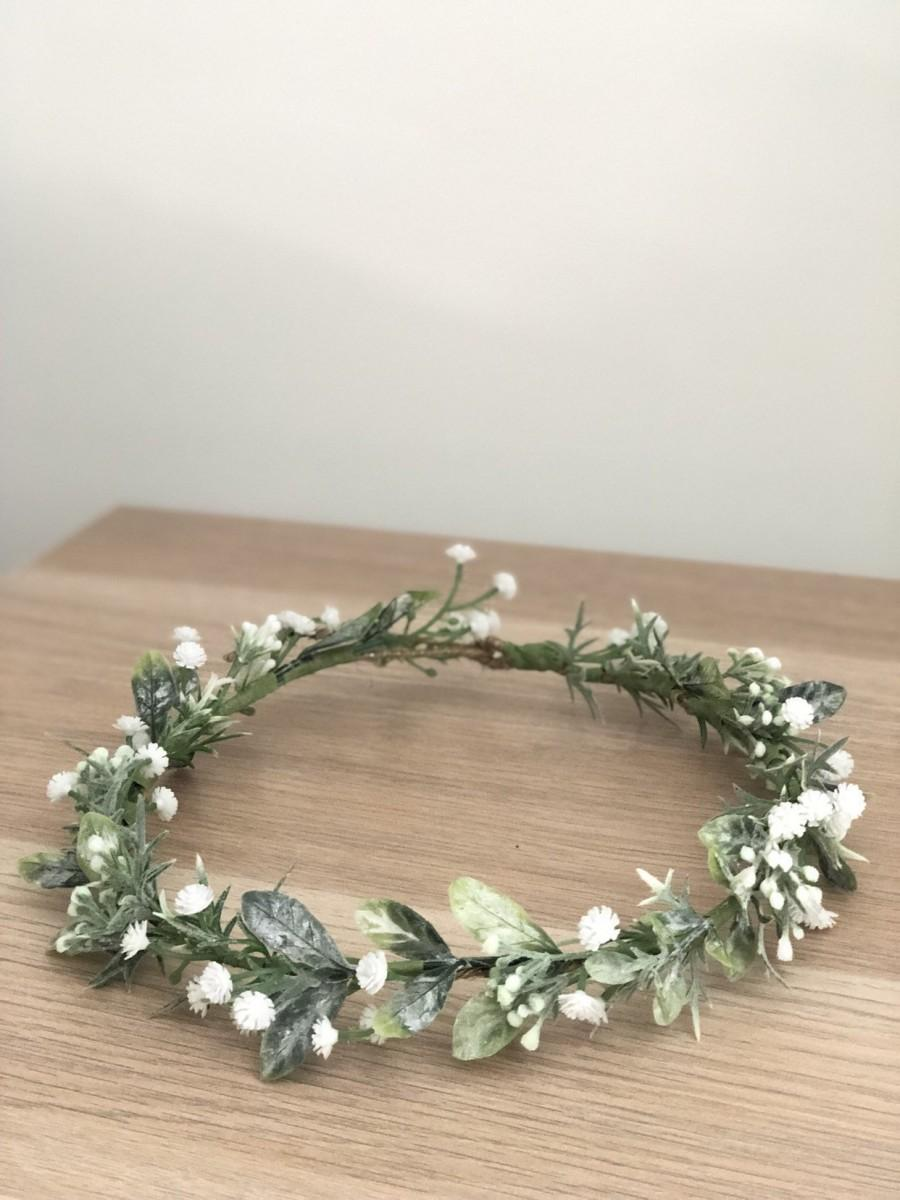 Wedding - baby breath crown, olive leaf crown, baby breath crown, greenery crown, thin crown, green white crown, coachella crown, flower crown