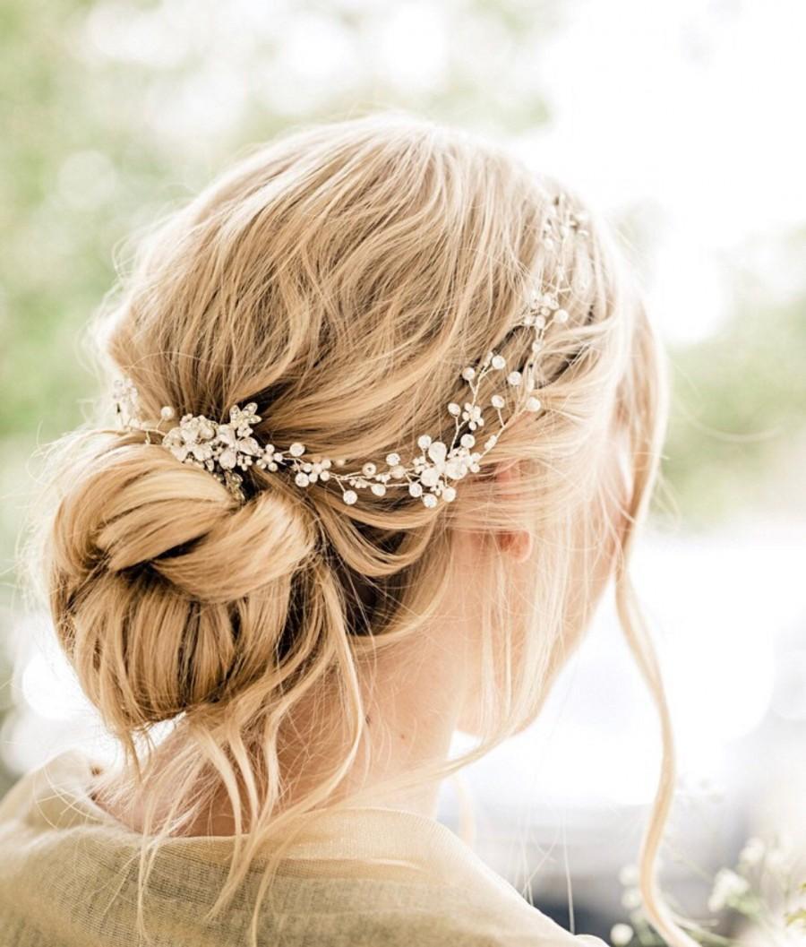 Hochzeit - Delicate Gold Hair Vine, Wedding Hair Accessory, Wedding Hair Piece, Bridal Hair Wreath, Crystal Pearl Babies Breath,