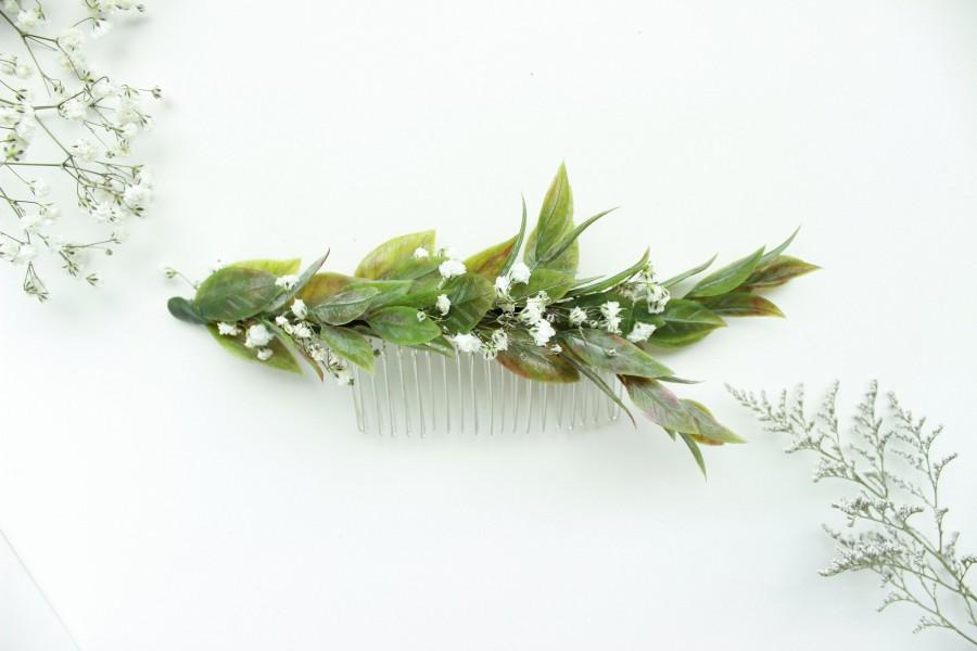 Hochzeit - Greenery Hair comb / Babies breath comb / Green leaves Hair accessory / Bridal hair piece / Wedding Hair comb / Dried flowers comb