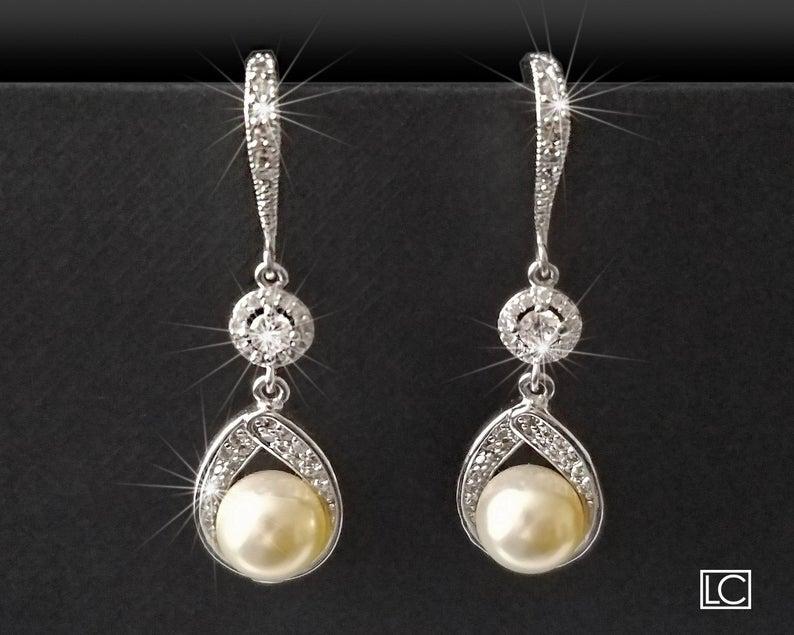 Hochzeit - Pearl Bridal Earrings, Swarovski Ivory Pearl Silver Earrings, Pearl Chandelier Wedding Earrings, Bridesmaids Jewelry, Pearl Dangle Earrings