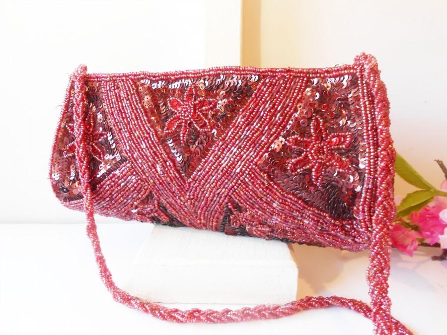 Hochzeit - Vintage Red Beaded Evening Bag, Glamorous Bead Clutch Handbag  EB-0239