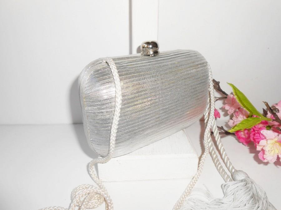 Свадьба - Vintage Silver Evening Bag, Metallic Silver Handbag, Small Evening Purse EB-0333