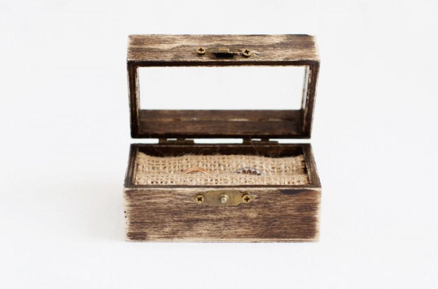 زفاف - Wedding Ring Box, Ring Box With Glass Top, Rustic Ring Box For Ceremony, Wedding Box Burlap, Engagement Box, Ring Bearer Box, Ring Holder