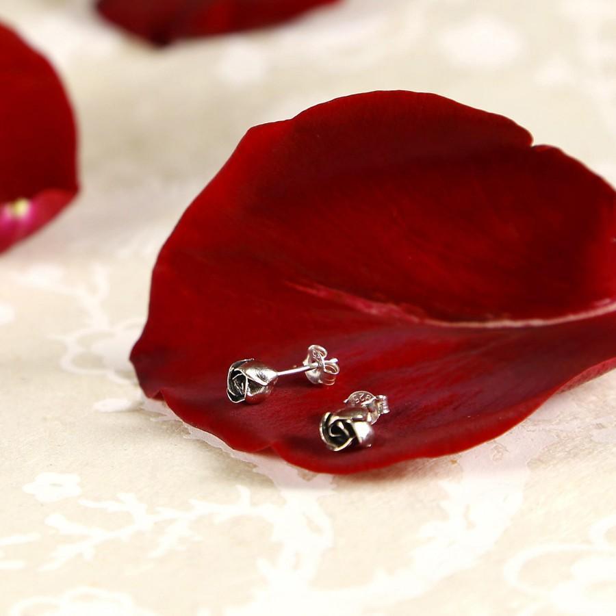 Mariage - Rose Earrings, Rose Bud Earrings, Natural Earrings Design, Rose Studs, bridesmaid gift, wedding jewel, Bohemian Jewel, beauty and the beast