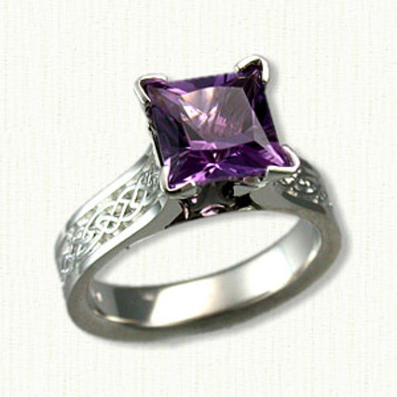Wedding - Celtic Maureen Style Engagement Ring (glasgow knot pattern) set with a 7 x7 mm - AAA Grade Princess Cut Amethyst - 1.65ct
