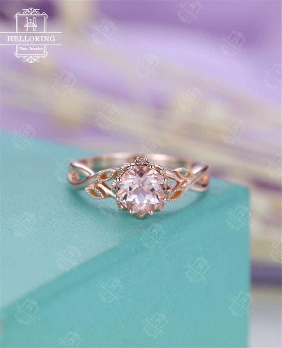 Свадьба - Morganite engagement ring Vintage Rose gold Diamond Women Wedding Jewelry Unique Leaf Art deco Milgrain Anniversary gift for her Twisted