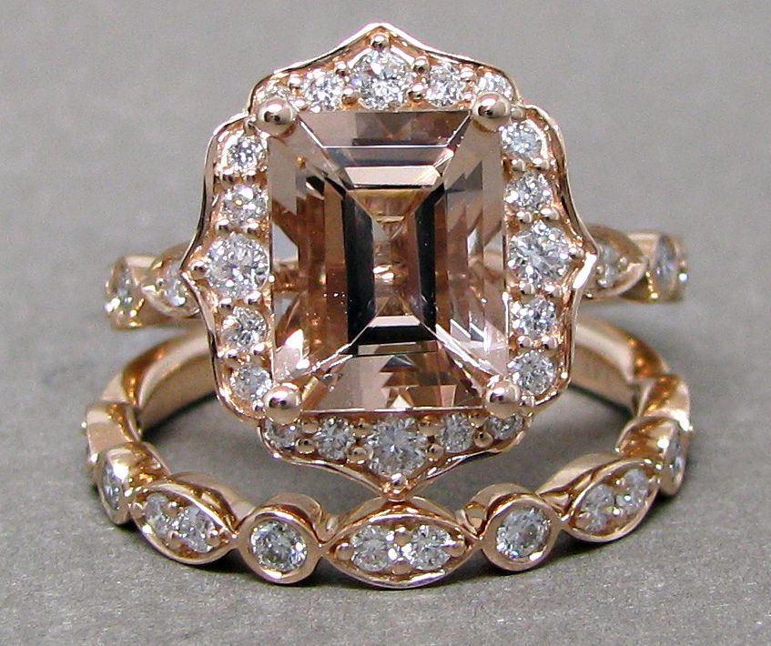 Mariage - SALE Emerald Cut 9x7 Morganite Engagement Ring Diamond Bridal Set Wedding 14k Roe Gold 2 3/5ct Total Weight Vintage Scalloped Design